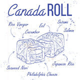 Canada rolls recipe on a notebook page. Fresh fish and rice Stock Images