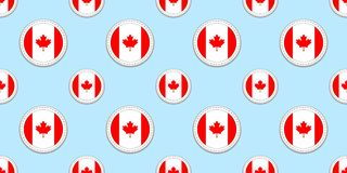 Canada round flag seamless pattern. Canadian background. Vector circle icons. Geometric symbols. Texture for sports vector illustration