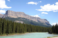 Canada's Bow River. Bow River in the Canadian Rockies, Banff National Park, Alberta Royalty Free Stock Photo