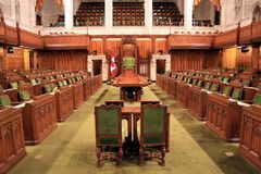 Canada's House of Commons. The floor of the House of Commons, part of the Canadian parliament in the capital of Ottawa Royalty Free Stock Photo