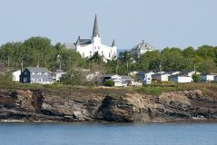 Canada`s North Sydney Coastline. The steep costline of little North Sydney town in Canada Nova Scotia stock photo