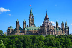 Canada's Parliament Buildings. Rear of parliament hill and the parliament buildings - headquarters of the government of Canada - in Canada's capital: Ottawa royalty free stock images