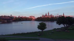 Canada's Parliament buildings at dusk stock video footage