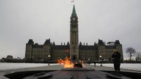 Canada's Parliament buildings in winter stock video footage