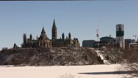 Canada's Parliament buildings in winter stock footage