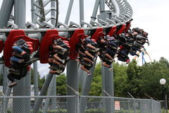 Canada's Wonderland Flight Deck. Typical Day at Canada's Wonderland, people riding rollercoassters Stock Photography