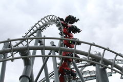Canada's Wonderland Flight Deck. Typical Day at Canada's Wonderland, people riding rollercoassters Stock Images