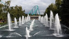 Canada's Wonderland. The fountains at the entrance in Canada's Wonderland with Leviathan in the background Stock Image