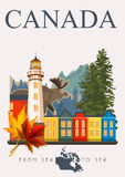 Canada. From sea to sea. Canadian vector illustration. Vintage style. Travel postcard. Canada. Canadian vector illustration. Travel postcard. Colorful banner Royalty Free Stock Photos