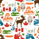 Canada seamless pattern. Canadian traditional symbols and attractions stock illustration