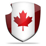 Canada shield. Flag of Canada on shield Royalty Free Stock Image