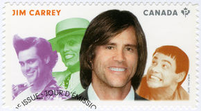 CANADA - 2014: shows James Eugene Jim Carrey born 1962, actor, series Great Canadian Comedians Royalty Free Stock Photo