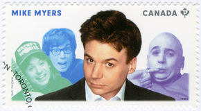 CANADA - 2014: shows Michael John Mike Myers born 1963, actor, series Great Canadian Comedians Royalty Free Stock Image