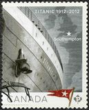 CANADA - 2012: shows Titanic, White Star Line, Titanic Centenary. CANADA - CIRCA 2012: A stamp printed in Canada shows Titanic, White Star Line, Titanic royalty free stock images