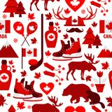 Canada sign and symbol, Info-graphic elements flat icons set in seamless pattern. Canada sign and symbol, graphic elements flat icons set in seamless pattern Royalty Free Stock Photography