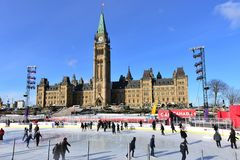 Canada 150 skating rink on Parliament Hill. Ottawa, Canada - December 11, 2017:  The temporary skating rink erected on Parliament Hill as part of the Canadian Stock Photo