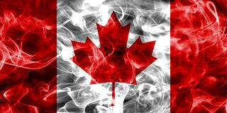 Canada smoke flag. Isolated on a black background Royalty Free Stock Images