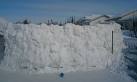 Canada snow wall six feet tall. Snow wall over six feet tall Stock Photo