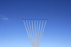 Canada Snowbirds in Flight. A picture of the Canadian Snowbirds Military Team showing off their stunts Stock Photography