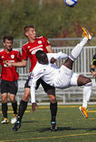 Canada soccer bicycle kick ball Royalty Free Stock Image