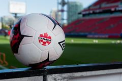 Canada soccer men`s national team training session. September 1, 2017. Toronto, Canada - Football balls during open training session conference in Toronto before Stock Photography