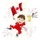 Canada Sport Fan with Flag Royalty Free Stock Images