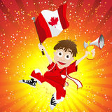 Canada Sport Fan with Flag and Horn Royalty Free Stock Image