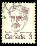 Sir Robert Borden. Canada - stamp printed in1973, Canadian Prime Ministers and Queen Elizabeth II, Sir Robert Borden Royalty Free Stock Image