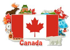 Canada sticker background design. Canadian traditional symbols and attractions vector illustration