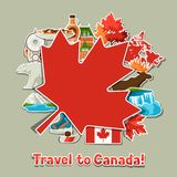 Canada sticker background design. Canadian traditional symbols and attractions royalty free illustration