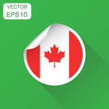 Canada sticker flag icon. Business concept Canada label pictogra. M. Vector illustration on green background with long shadow Royalty Free Stock Photography