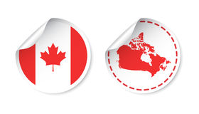 Canada sticker with flag and map. Label, round tag with country. Vector illustration on white background Royalty Free Stock Images