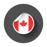 Canada sticker with flag. Vector illustration with long shadow Royalty Free Stock Photos
