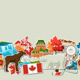 Canada sticker seamless pattern. Canadian traditional symbols and attractions vector illustration