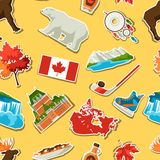 Canada sticker seamless pattern. Canadian traditional symbols and attractions stock illustration