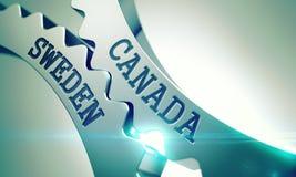 Canada Sweden - Mechanism of Metallic Gears. 3D. stock illustration