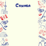 Canada Symbols Pen Drawn Doodles Vector Collection royalty free illustration