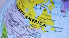 Canada. Terrestrial Globe 4K. Terrestrial globe rotates and stops at Canada stock video footage