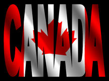 Canada text with Canadian flag Royalty Free Stock Photos
