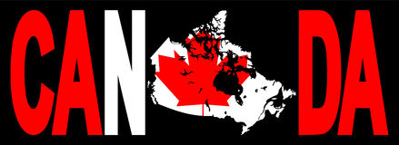 Canada text with map Royalty Free Stock Photography