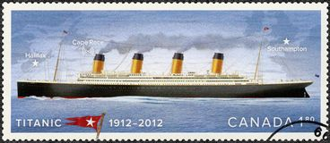 CANADA - 2012: toont Kolossale, Witte Sterlijn, Kolossaal Eeuwfeest 1912-2012 toont Stock Afbeelding