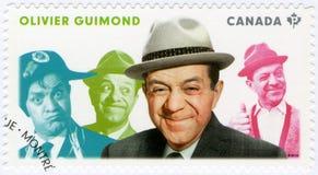 CANADA - 2014: toont Olivier Guimond 1914-1971, acteur, reeks Grote Canadese Blijspelacteurs Royalty-vrije Stock Foto