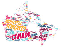 Canada top travel destinations word cloud Stock Photography