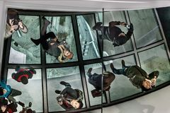 Canada Toronto 11/17/2018 TV Tower  Observation Deck With A Mirror Floor.. Stock Photo