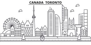 Canada, Toronto architecture line skyline illustration. Linear vector cityscape with famous landmarks, city sights. Design icons. Editable strokes Stock Image