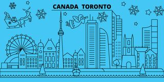 canada toronto city winter holidays skyline merry christmas happy new year decorated banner with santa clauscanada stock vector illustration of