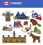Canada tourism travel landmarks and culture famous symbols vector icons set Stock Images