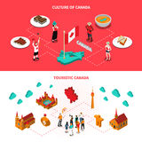 Canada Touristic Attractions Horizontal Isometric Banners Royalty Free Stock Images