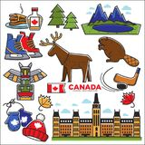 Canada touristic map with sightseeings colorful graphic poster Royalty Free Stock Photos
