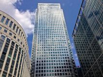 Canada Tower. Three point perspective of the tower in Canary Wharf, London, with Thomson Reuters visible royalty free stock images
